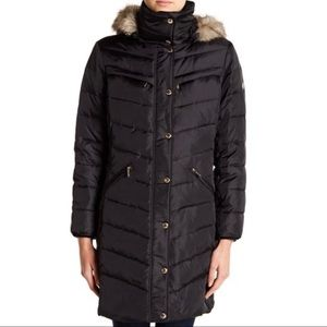 Michael Kors Quilted Midi Coat Faux Fur Trimmed S